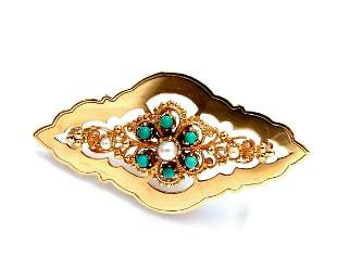 Natural Turquoise & Seed Pearl Open Gilt Etching Patter