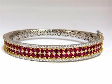 8.00ct natural round cut ruby diamonds bangle bracelet