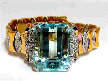 GIA Certified 56.05ct natural aquamarine diamonds brace
