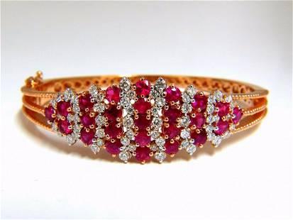 6.16ct natural round cut ruby diamonds bangle bracelet