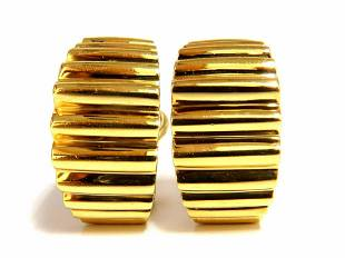 18kt 3D Regency Deco Grill Form Earrings Omega