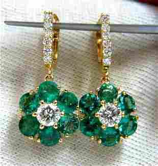 5.38ct Flora Cluster Natural emerald diamond dangle ear