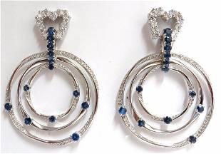 6.00ct Natural Diamonds Sapphire 3 Tier Dangle earrings