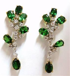 8.77ct natural vivid green tsavorite diamond dangle