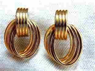 14kt 3D 1980's Deco Tubular Form Earrings Door Knocker