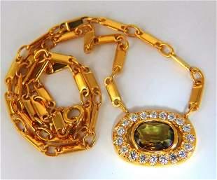 2.70ct natural orange brown sapphire diamonds necklace