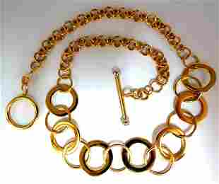 14kt Gold Circles Toggle Link Necklace 15 inch