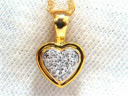 .10ct natural diamonds heart necklace 14kt yellow gold