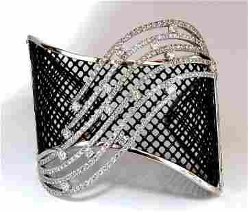 4.30ct Diamonds Bangle Cuff Bracelet 18kt Fish Net