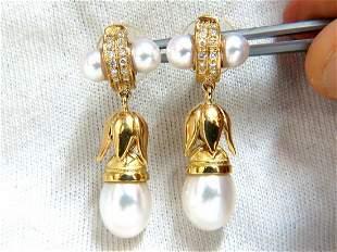 .50ct natural diamonds pearl dangle earrings 18kt