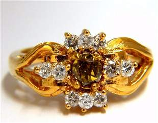 .83ct natural fancy vivid yellow brown diamond ring 14k