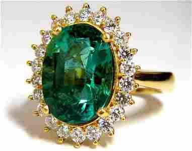 GIA Certified 8.60ct natural green emerald diamonds rin