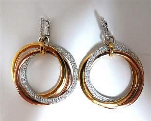 3.80ct natural diamonds rolling loop rings dangle ear