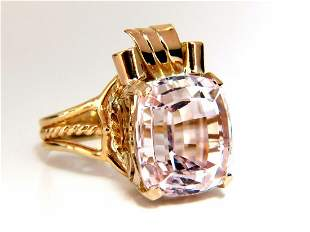14.60ct natural Pink Kunzite Victorian solitaire ring