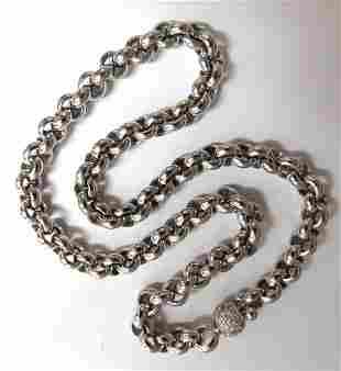 88 Gram 18kt 1.00ct diamonds Venetian Link Circles neck