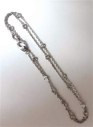 .50ct diamonds station yard necklace 14kt 16 inch