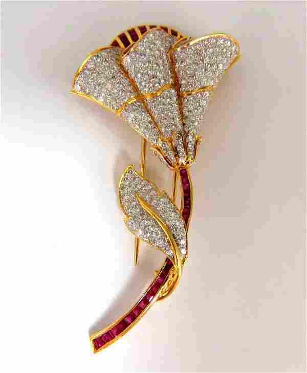 11.50ct Natural Ruby Diamond Brooch Pin 3D 18kt