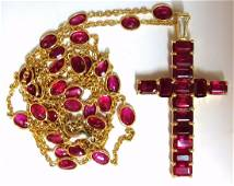 24.70ct Natural Ruby Cross Necklace & Yard 18kt Rosary