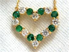 Natural Emeralds & Diamonds open heart necklace 1.84ct.