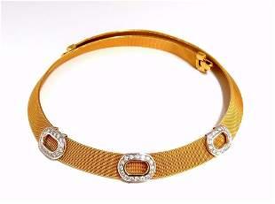 18KT DAG Italy Flex Mesh Three Oval Diamonds Necklace