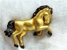 18kt Horse Pin .10ct diamonds