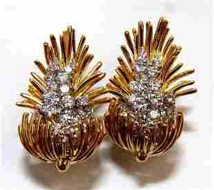 Kurt Wayne Cluster Earrings 18kt Platinum Omega