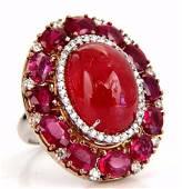 GIA Certified 20.30ct Natural Rhodonite Ruby Diamonds