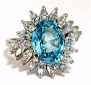 7.70ct Natural Indigo Blue zircon Diamonds Ring 18kt