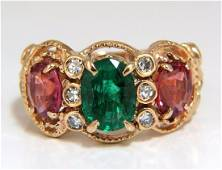 2.77ct natural Spinel Ruby ring three stone classic 14k