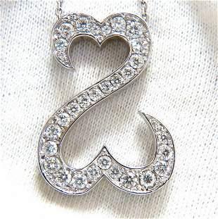 1.40ct natural diamonds double heart pendant 14kt