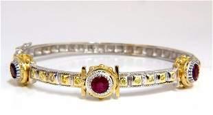2.23 Natural Ruby Yellow Diamond Bangle Bracelet 14kt