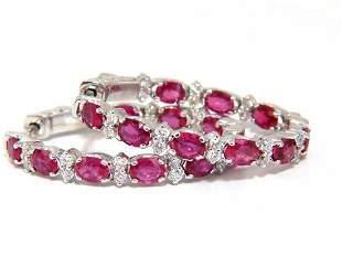 4.58ct natural red ruby diamond hoop earrings 14kt gold