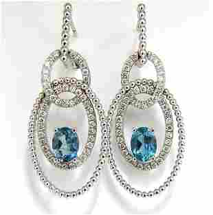 3.52ct natural blue aquamarine diamonds dangle earrings