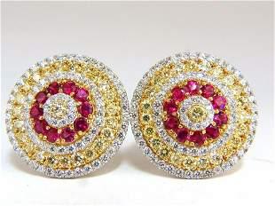 9.55ct natural ruby diamonds cluster earrings 18k