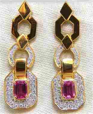2.94ct Natural Pink Sapphire Diamond Dangle Earrings 14