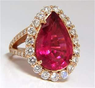 GIA Certified 14.15ct natural red tourmaline diamonds