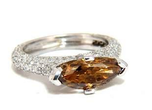 GIA certified 2.46ct Fancy Dark Yellow Brown Diamond
