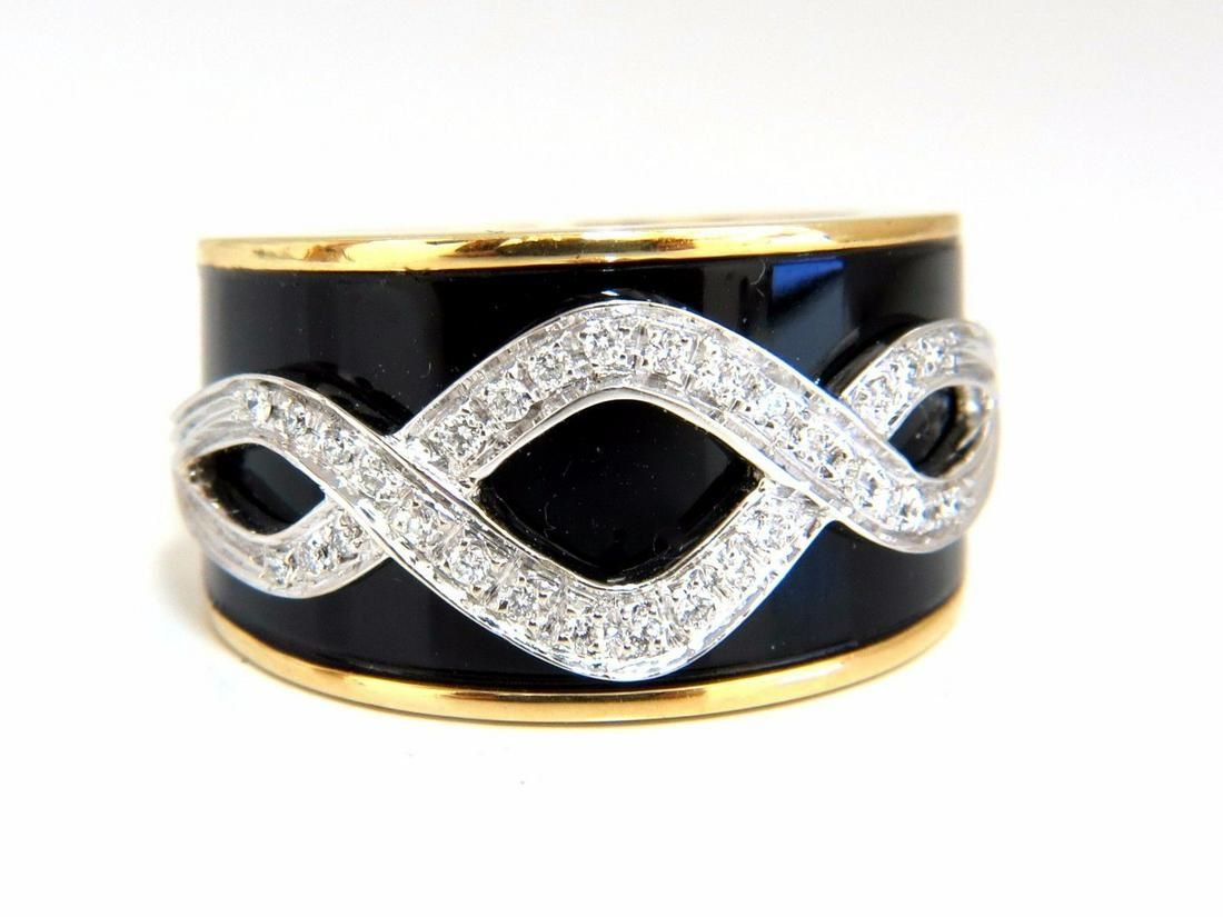 .25ct Natural Diamonds Enamel Inlay Floral Vector Ring