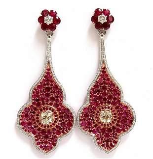 GIA Certified 35.27ct Natural Ruby Diamonds Dangle ear