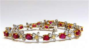 7.28ct Red natural ruby diamonds flower cluster tennis