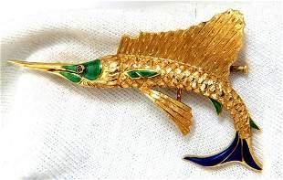 Art Deco Prime swordfish marlin brooch Enamel