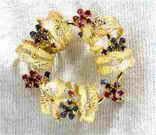 18kt Circle Wreath Sapphire Ruby Pin 3D