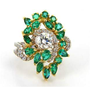 GIA certified 4.06ct. Emerald & Diamonds Cocktail Clust