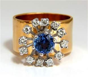 1.46ct natural round tanzanite diamonds ring 14kt