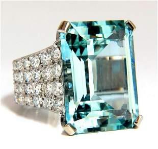 GIA Certified 28.26ct Natural Aquamarine diamonds ring