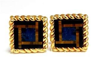 14kt Inlay Onyx Lapis & Tiger Eye Twist cufflinks