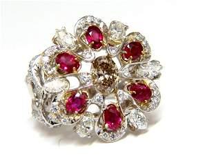 18kt Natural Fancy color Diamond Ruby Cocktail Cluster