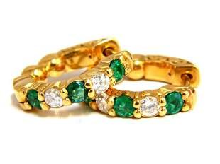 1.28ct natural emerald diamonds alternated hoop earring