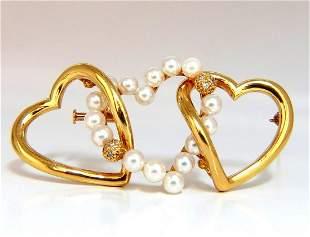 18 karat Three Heart Love Pearl Diamond Brooch pin