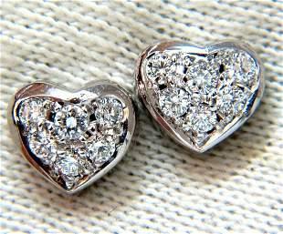 .40ct Diamonds Heart Cluster Earrings 14kt Stud